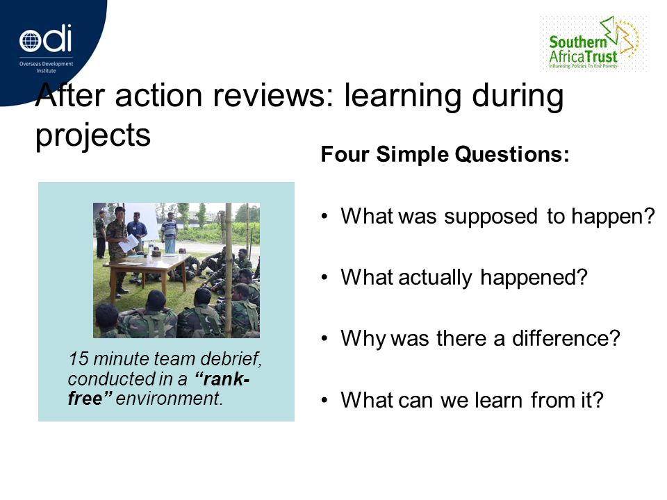 After action reviews: learning during projects