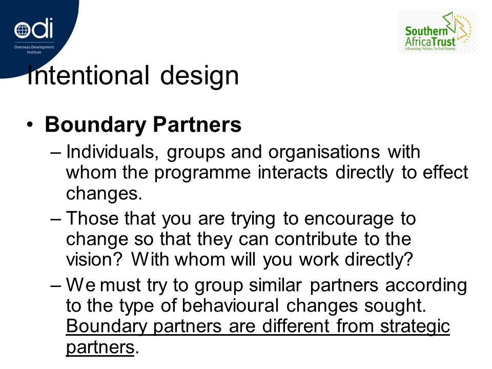Intentional design Boundary Partners