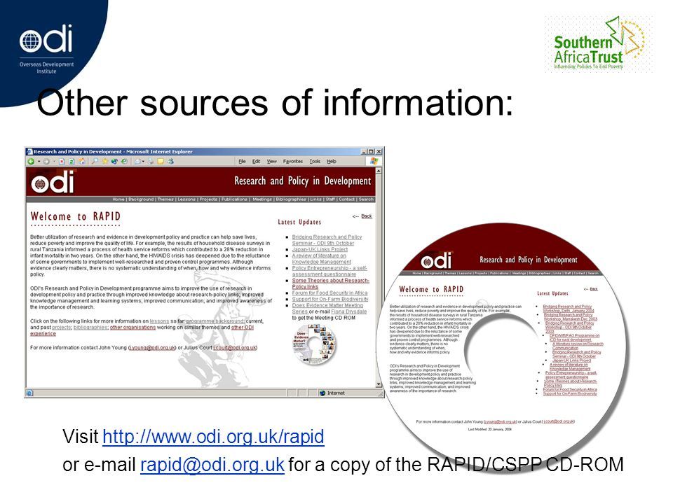 Other sources of information: