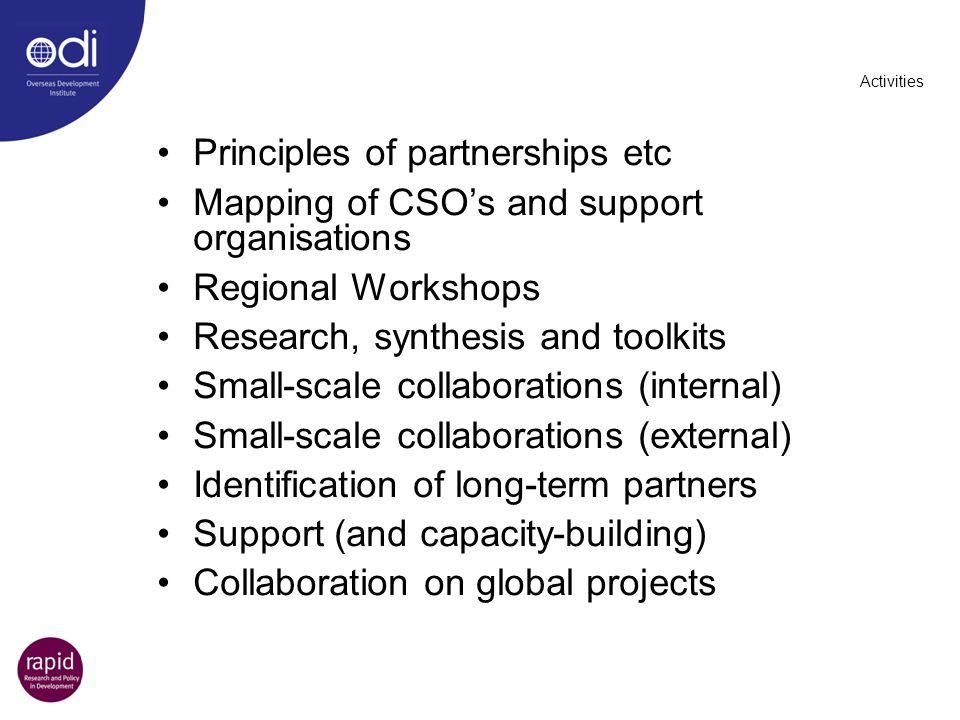 Principles of partnerships etc