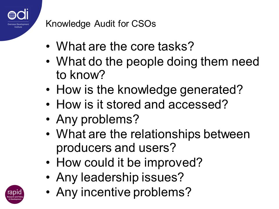 Knowledge Audit for CSOs