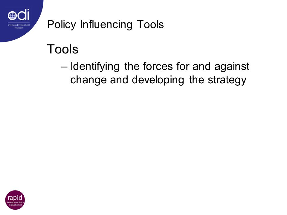 Policy Influencing Tools