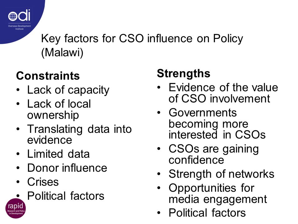 Key factors for CSO influence on Policy (Malawi)