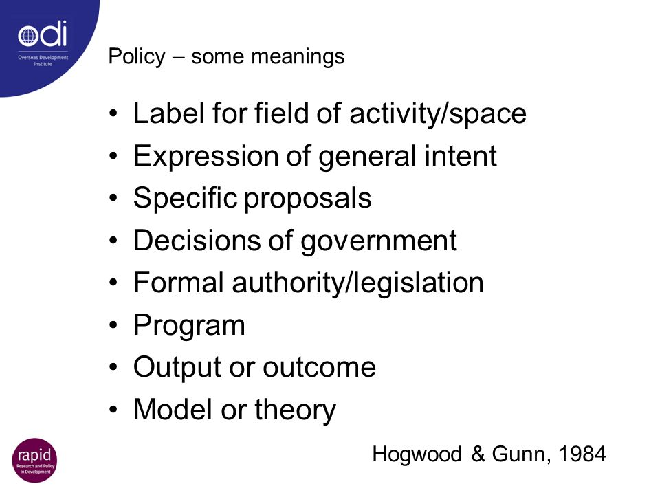 Label for field of activity/space Expression of general intent
