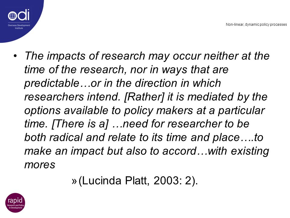 Non-linear, dynamic policy processes