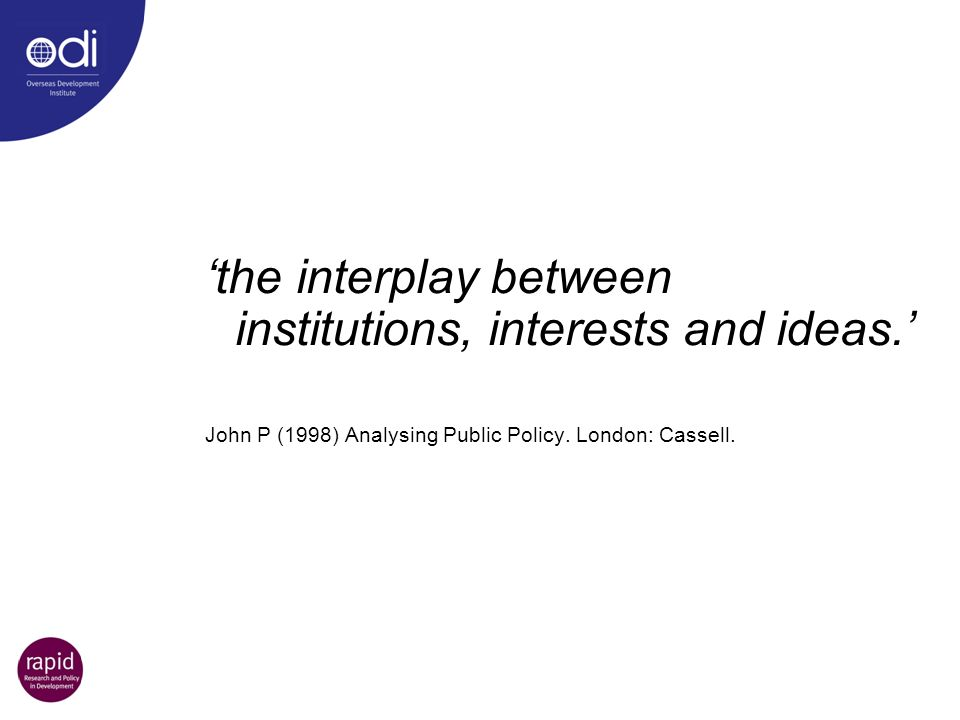'the interplay between institutions, interests and ideas.'