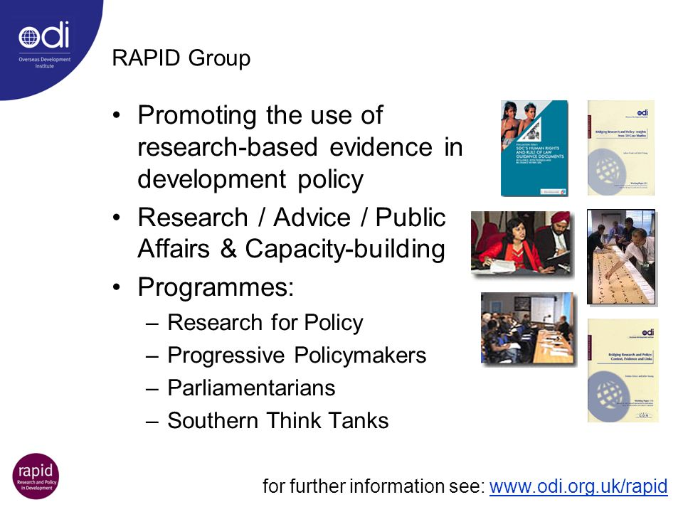 Promoting the use of research-based evidence in development policy
