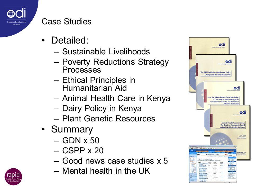 Detailed: Summary Case Studies Sustainable Livelihoods