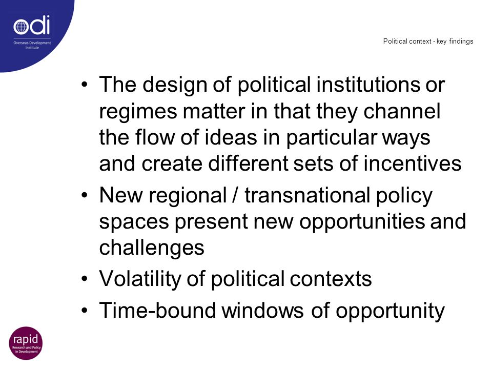 Political context - key findings