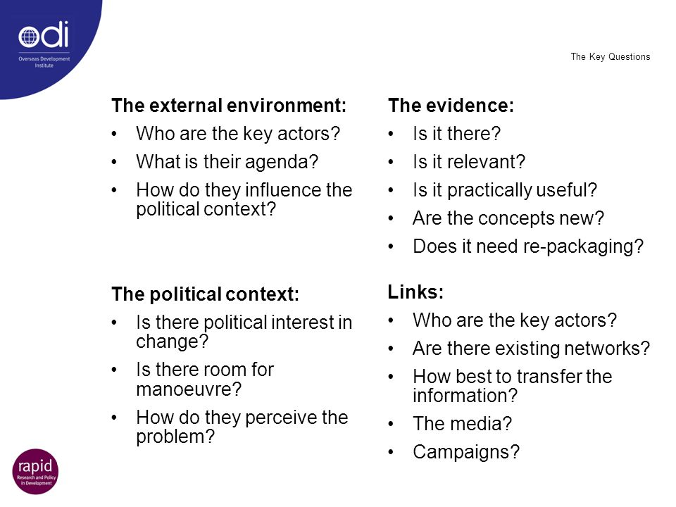 The external environment: Who are the key actors