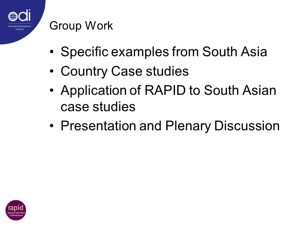 Specific examples from South Asia Country Case studies