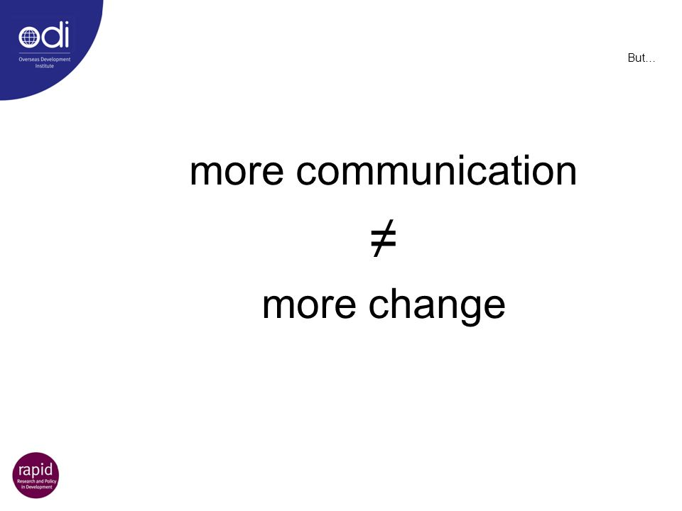 ≠ more communication more change But…