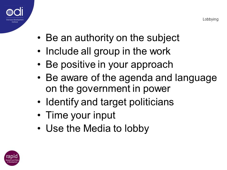 Be an authority on the subject Include all group in the work