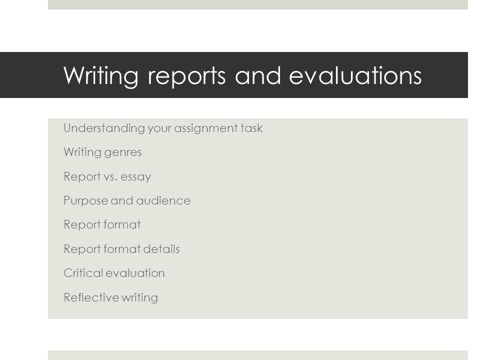 report writing assignment