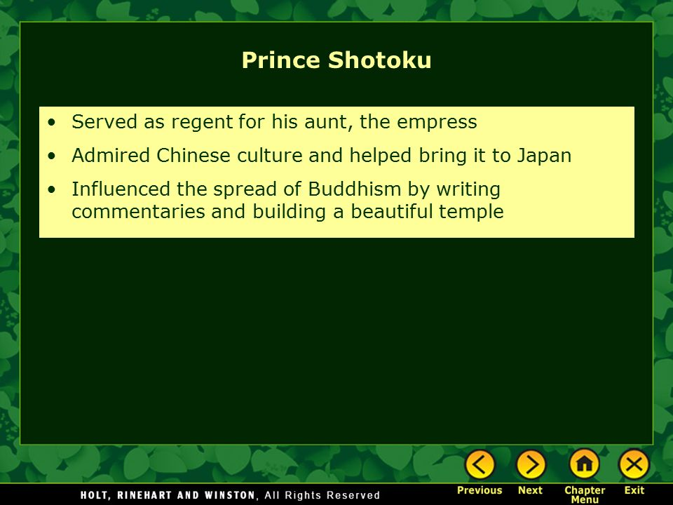Prince Shotoku Served as regent for his aunt, the empress