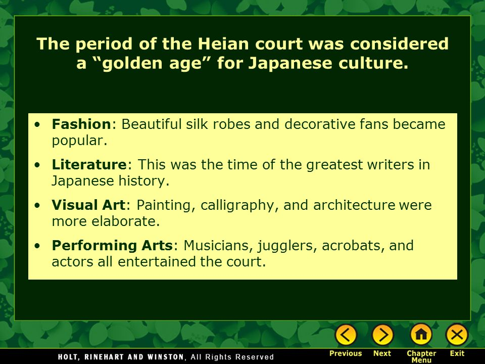The period of the Heian court was considered a golden age for Japanese culture.