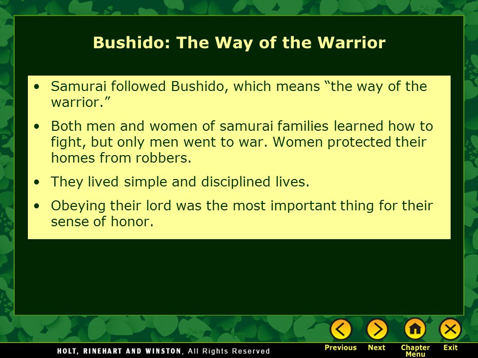 Bushido: The Way of the Warrior