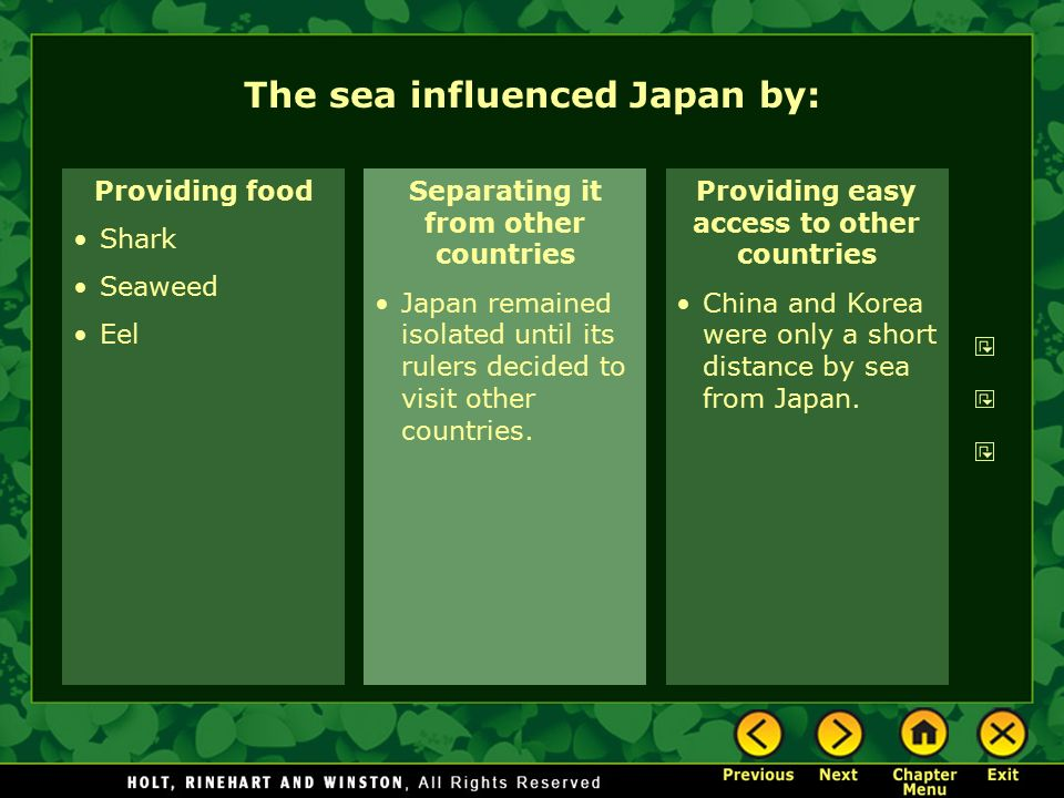 The sea influenced Japan by: