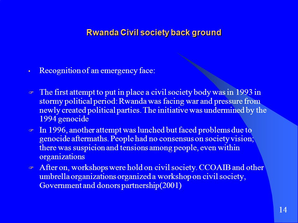 Rwanda Civil society back ground