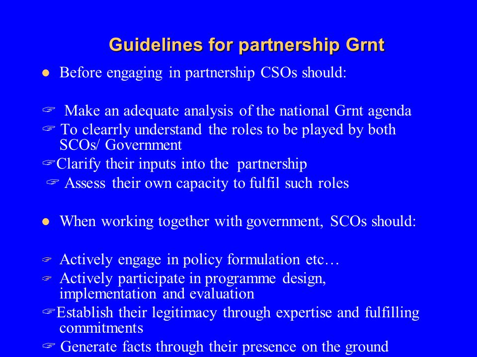 Guidelines for partnership Grnt