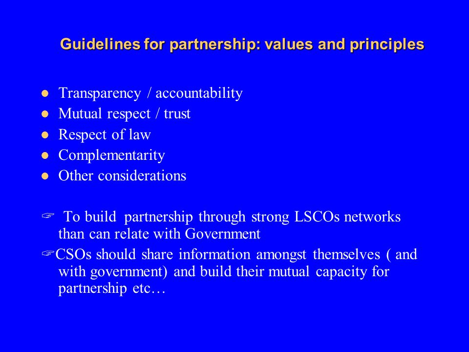 Guidelines for partnership: values and principles