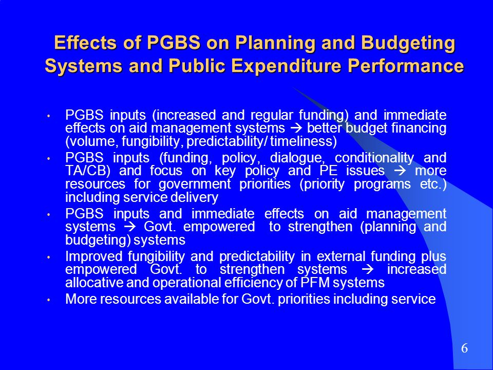 Effects of PGBS on Planning and Budgeting Systems and Public Expenditure Performance