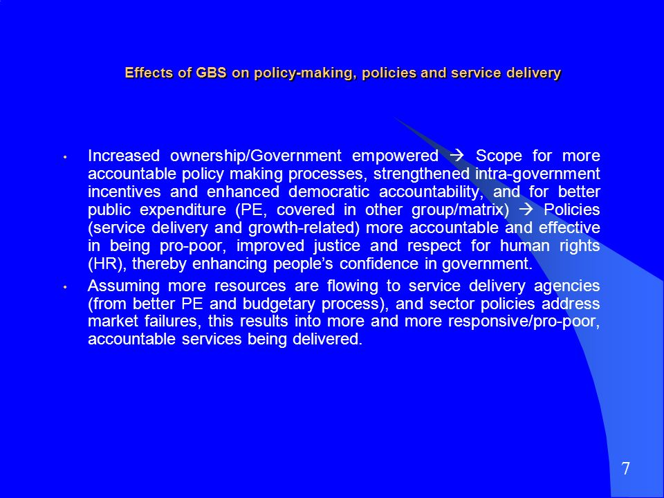Effects of GBS on policy-making, policies and service delivery