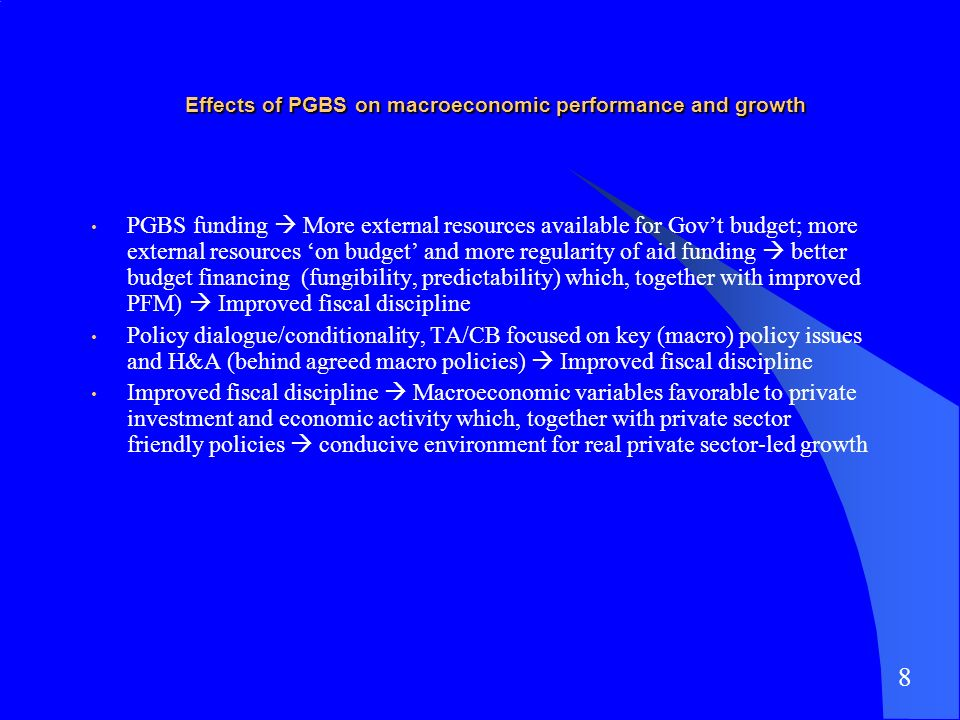Effects of PGBS on macroeconomic performance and growth