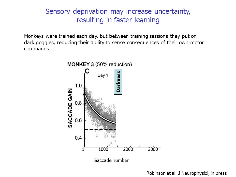 Sensory deprivation may increase uncertainty, resulting in faster learning
