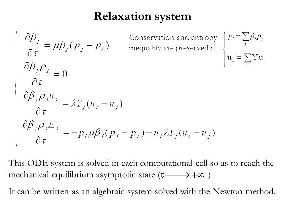 Relaxation system Conservation and entropy inequality are preserved if :