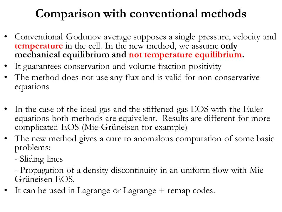 Comparison with conventional methods