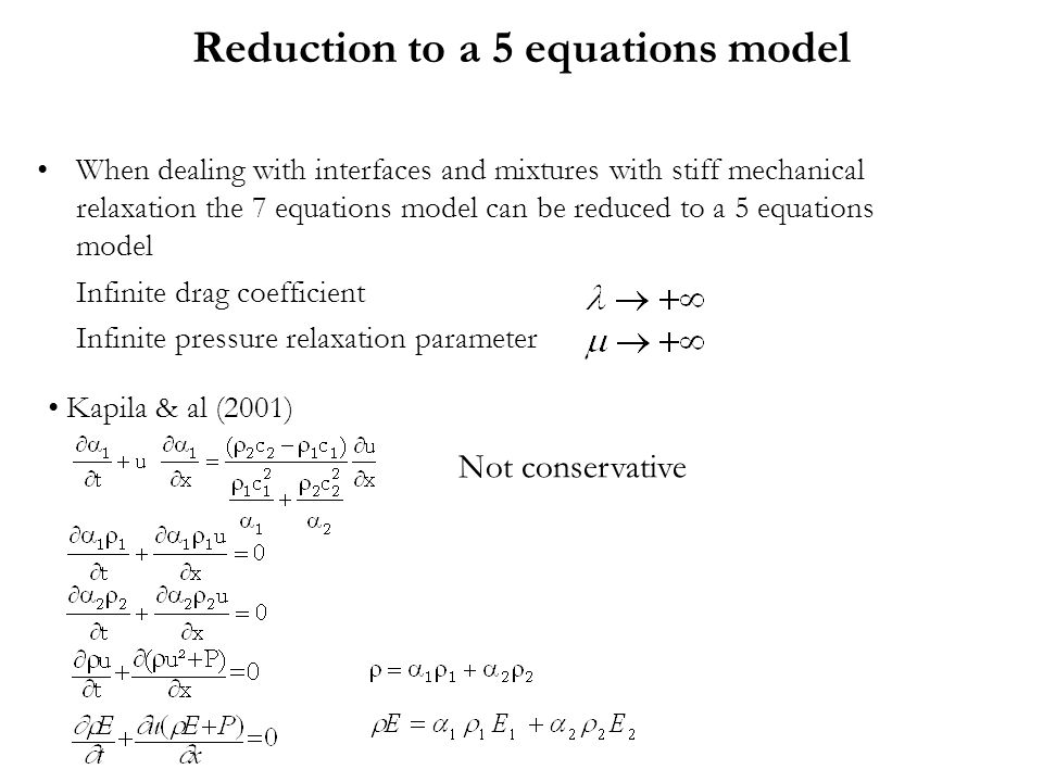 Reduction to a 5 equations model