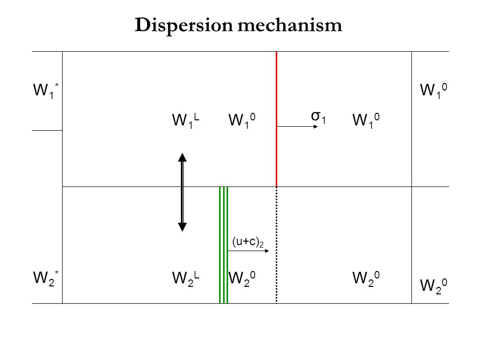Dispersion mechanism W1* W10 W2* W20 σ1 W10 W1L W10 W20 W2L (u+c)2 W20