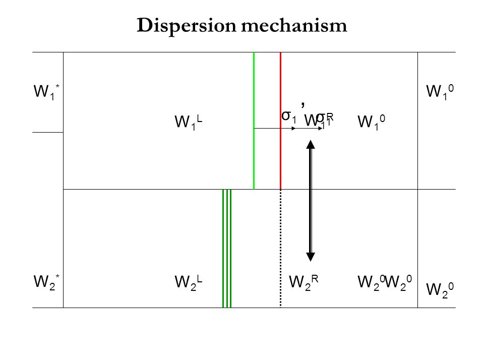Dispersion mechanism W1* W10 W2* W20 σ1 ' σ1 W1L W1R W10 W2L W2R W20