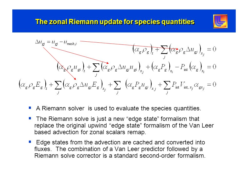 The zonal Riemann update for species quantities
