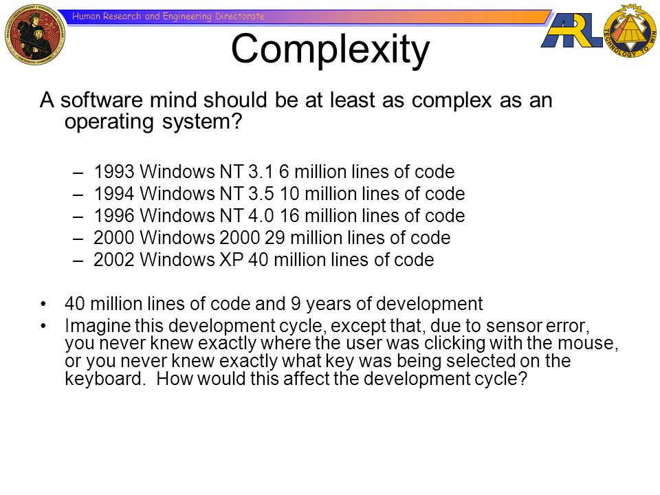 Complexity A software mind should be at least as complex as an operating system 1993 Windows NT 3.1 6 million lines of code.