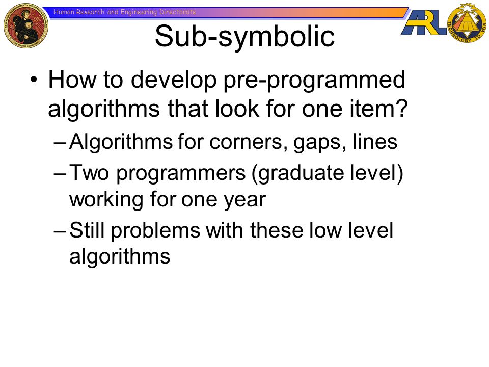 Sub-symbolic How to develop pre-programmed algorithms that look for one item Algorithms for corners, gaps, lines.