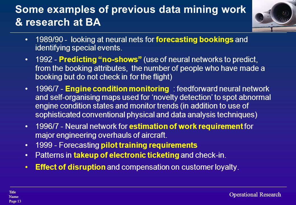 Some examples of previous data mining work & research at BA