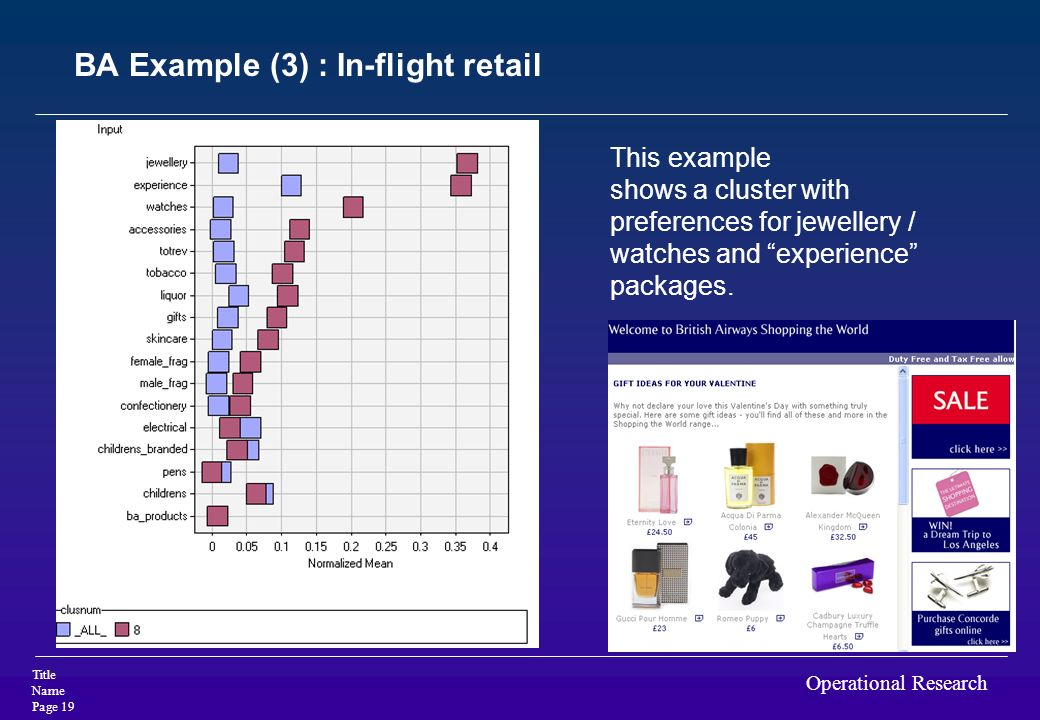 BA Example (3) : In-flight retail