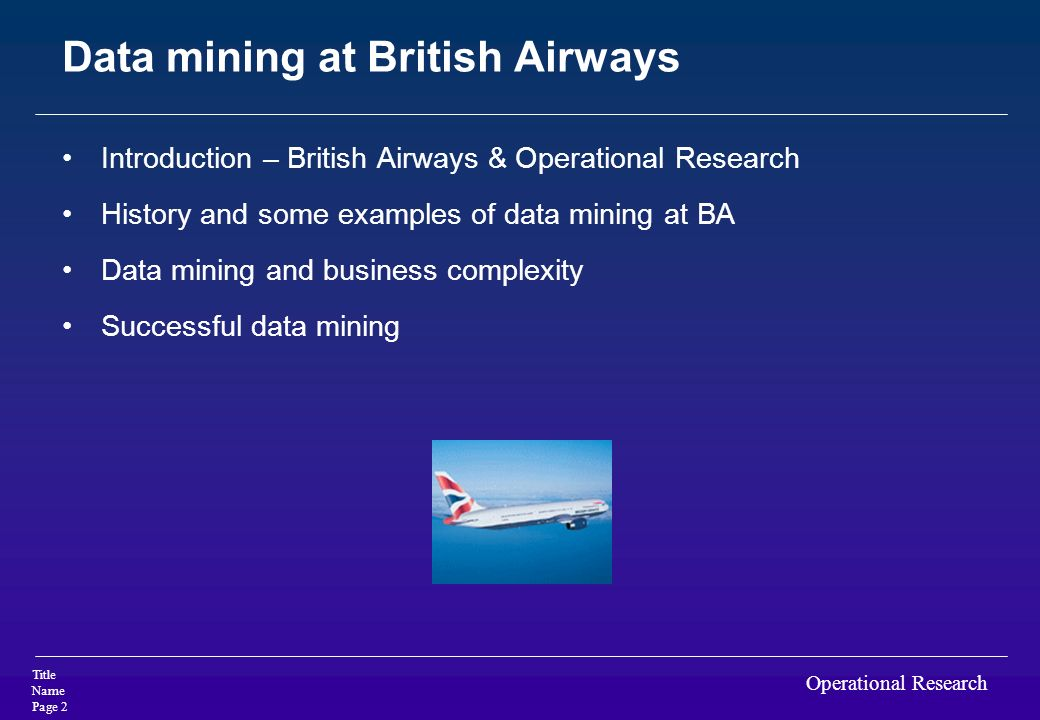 Data mining at British Airways