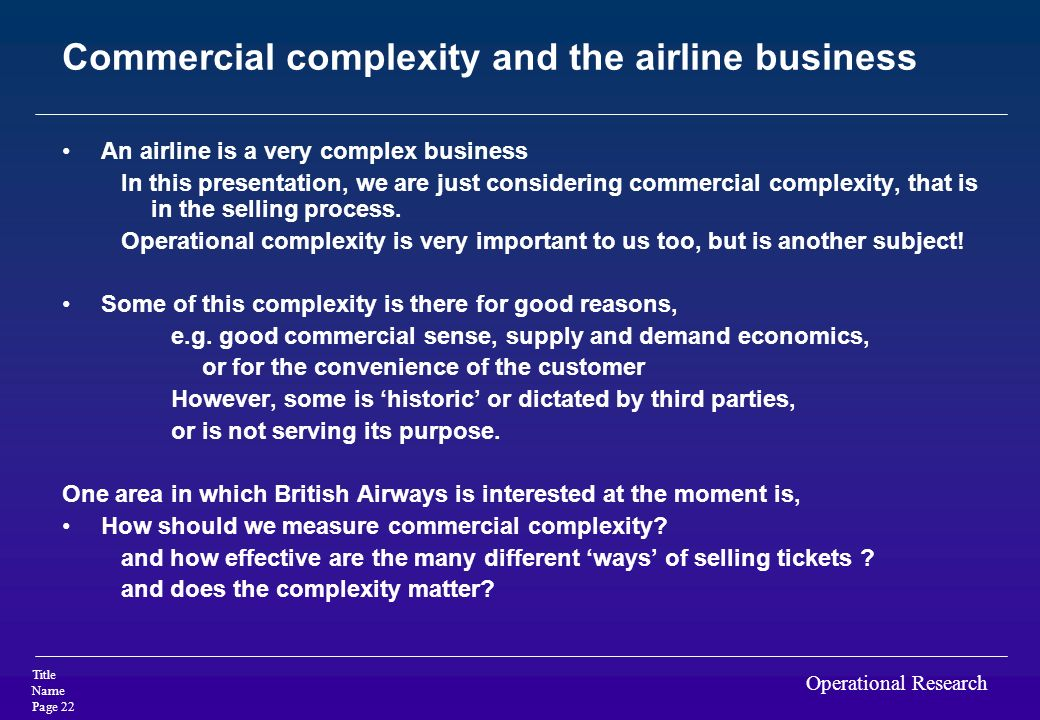 Commercial complexity and the airline business