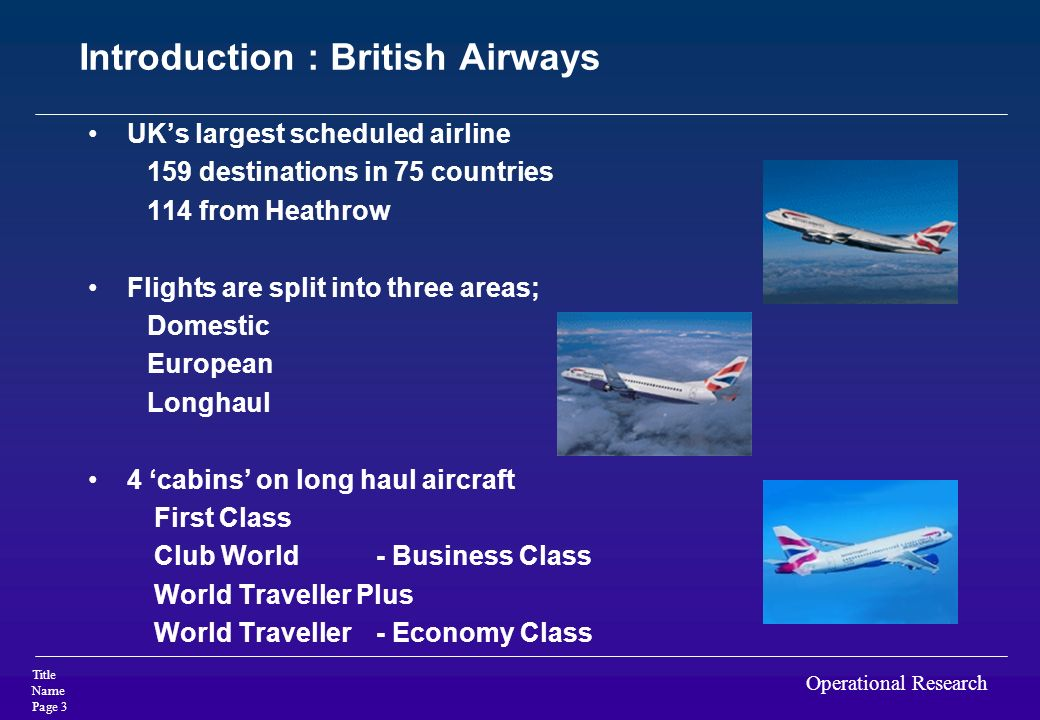 Introduction : British Airways