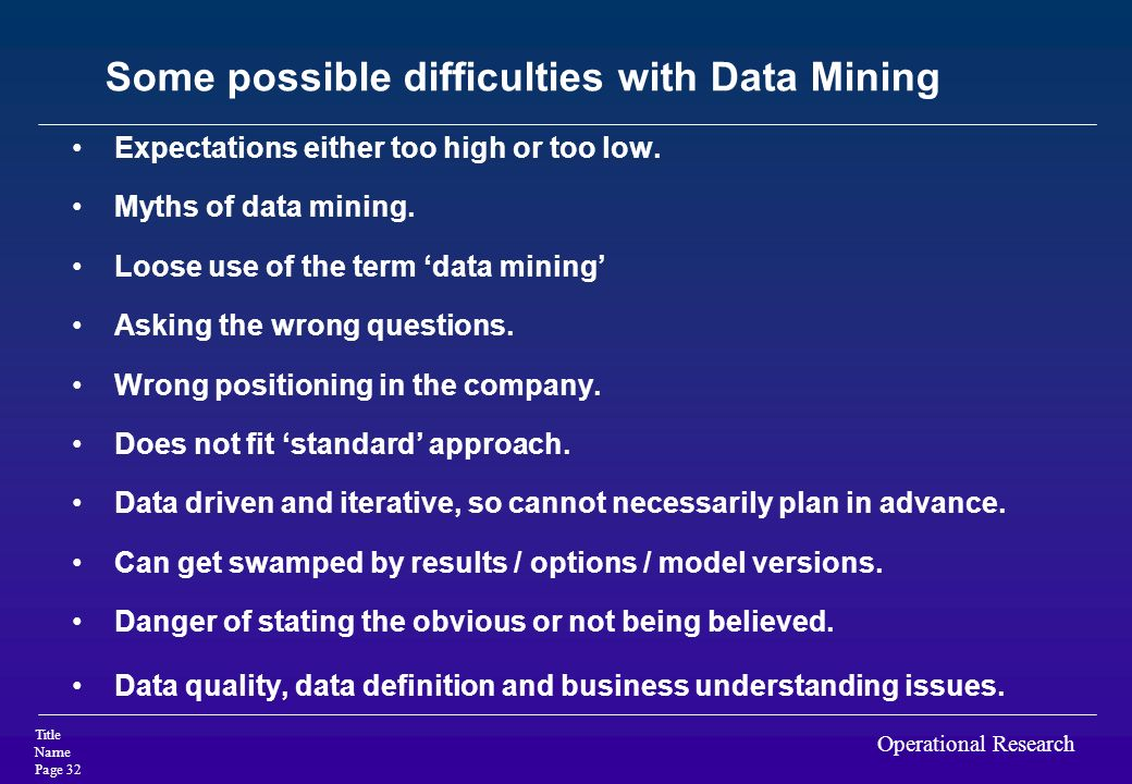 Some possible difficulties with Data Mining