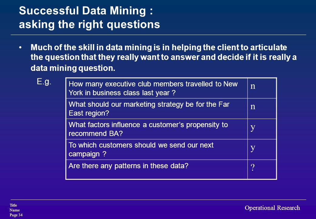 Successful Data Mining : asking the right questions