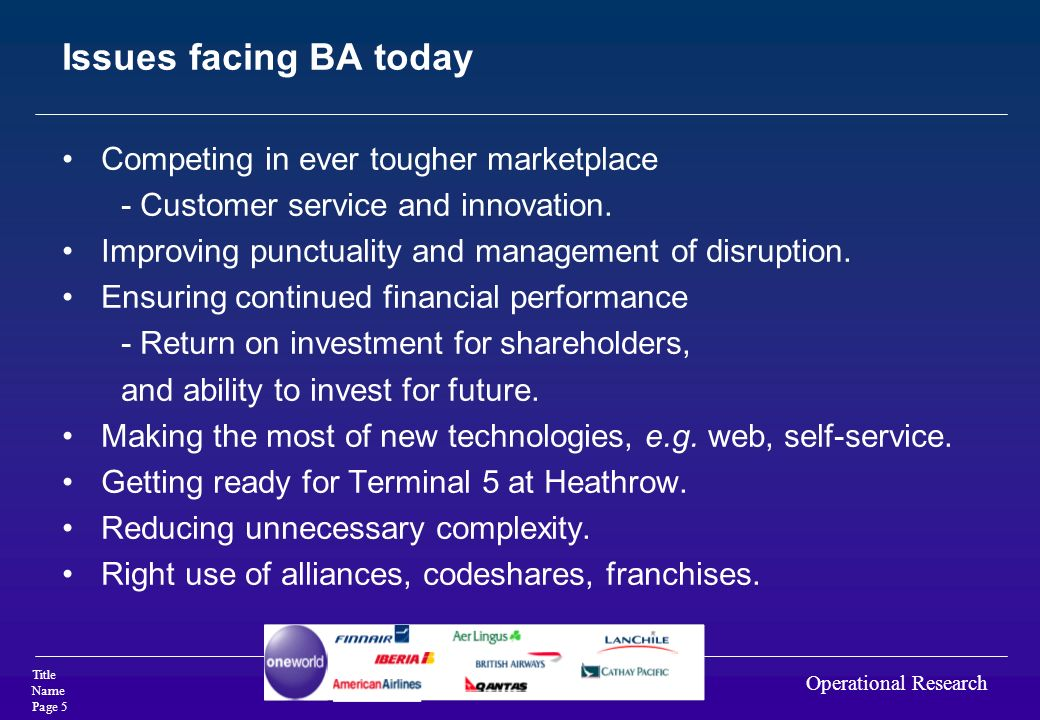 Issues facing BA today Competing in ever tougher marketplace