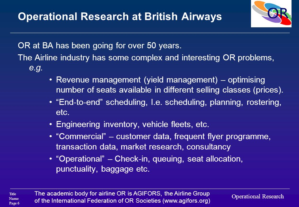 Operational Research at British Airways