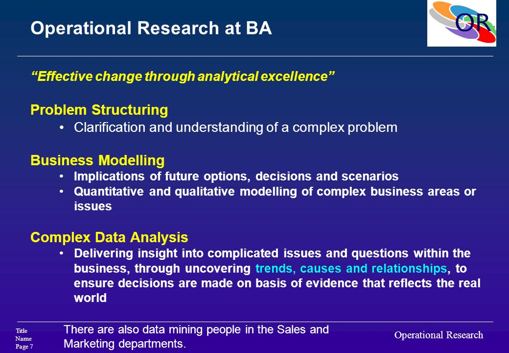 Operational Research at BA