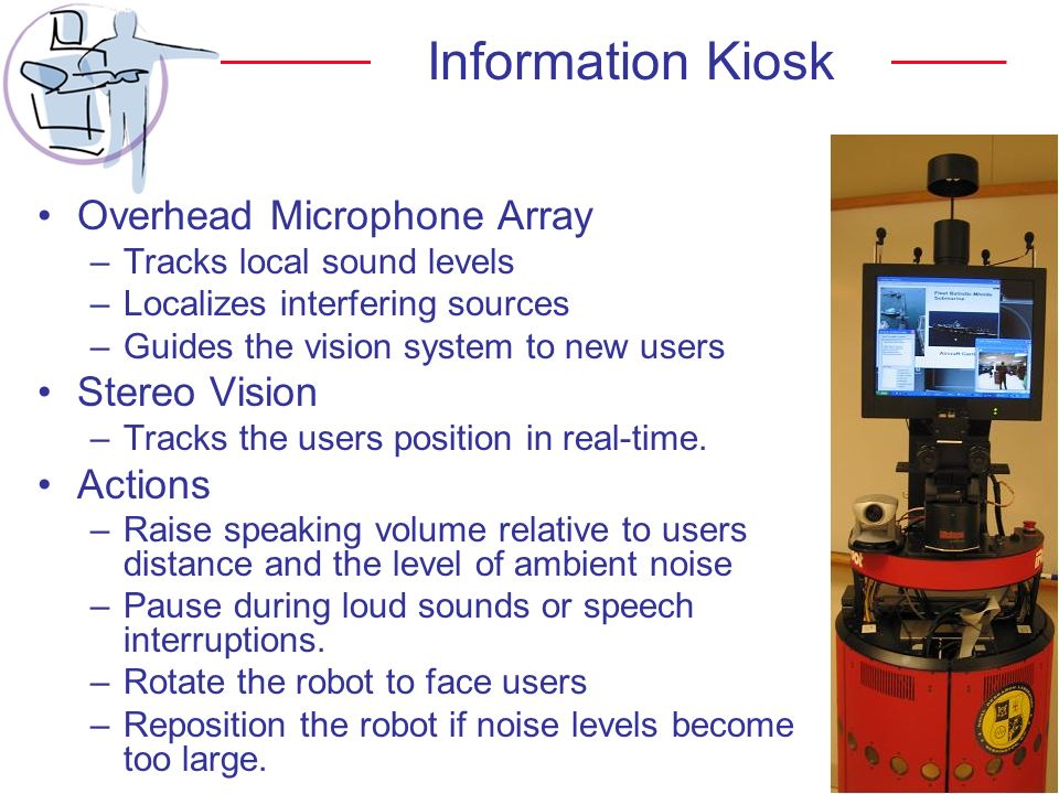Information Kiosk Overhead Microphone Array Stereo Vision Actions