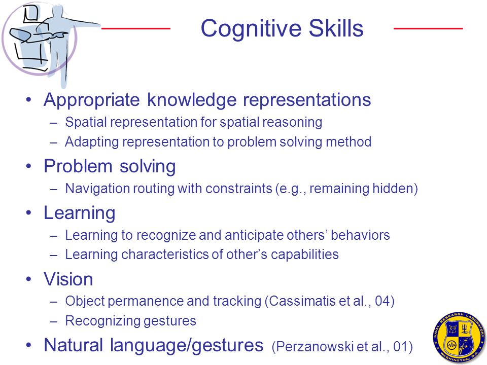 Cognitive Skills Appropriate knowledge representations Problem solving