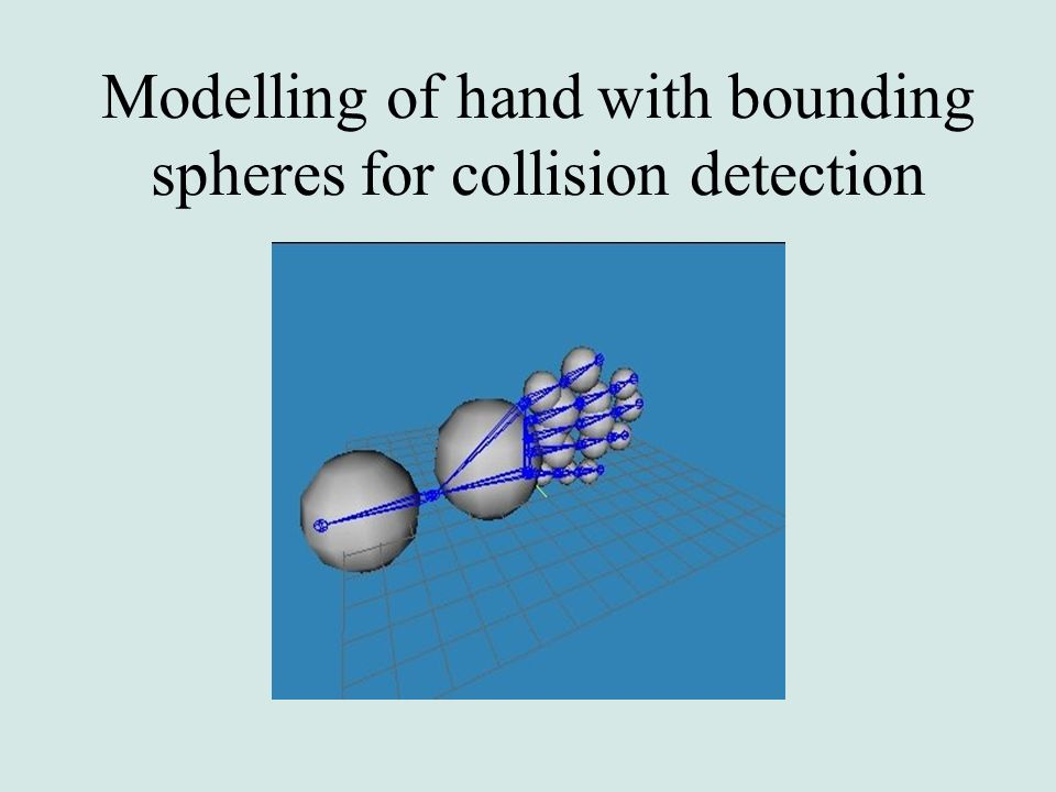 Modelling of hand with bounding spheres for collision detection